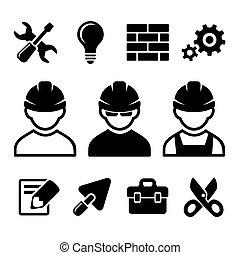 industrial, conjunto, trabajador, iconos