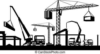 industrial, construção, cena