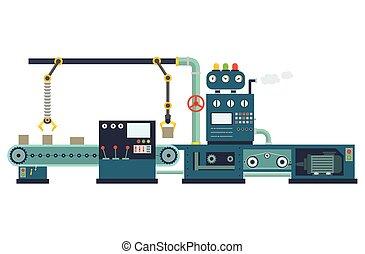 industrial, construção, equipment., fábrica