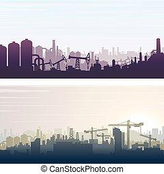 industrial, construcción, bandera, plano de fondo