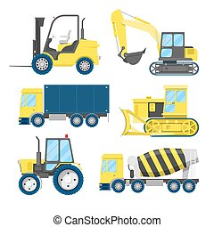 Industrial Construction Transportation with Truck and Tractor. Vector illustration