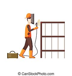 Industrial construction welder worker icon