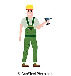 Industrial construction worker character with with a screwdriver tool, installer. Vector, isolated, cartoon flat style
