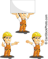 A vector set of a male construction worker in several poses. Drawn in cartoon style, this vector is very good for design that need construction site element in cute, funny, colorful and cheerful style. Available as a Vector in EPS8 format that can be scaled to any size without loss of quality. ...