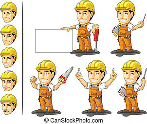 Industrial Construction Worker Masc - A vector set of a male...