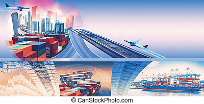 Industrial container cargo freight ship for import or export in port. Abstract design background, trucks and transport. Highway and delivering. Logistics concept