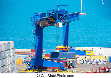 Industrial Container Cargo freight ship for Logistic Import Export concept.
