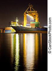 industrial, contenedor, buquede carga