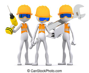 Industrial contractors workers team. Isolated on white background