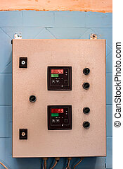 Industrial control panel at factory