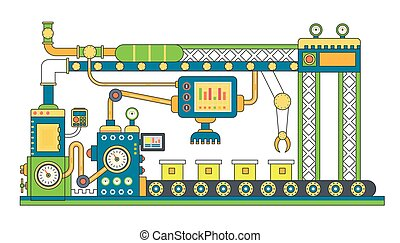Industrial conveyor belt line flat vector illustration. Conveyor process abstract machine production.