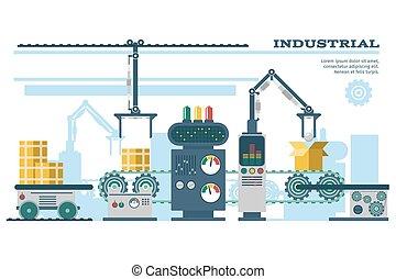 Industrial conveyor belt line vector illustration. Conveyor...