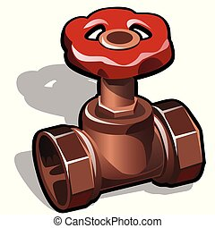 Industrial copper or brass water valve isolated on a white background. The element of water communications. Vector cartoon close-up illustration.
