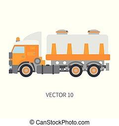 industrial, cor, tank., desenho, style., edifício., carga, engineering., diesel, delivery., power., comercial, business., ilustração, construção, ícone, planície, vetorial, caminhão, maquinaria, incorporado, transportation.