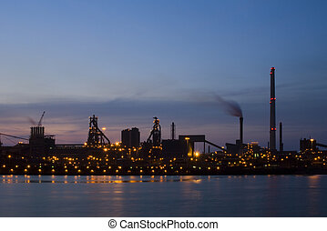 Industrial Dawn - Steelworks at dawn, seen from across a...