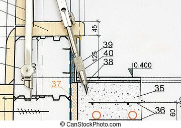 industrial, dibujo, detalle, con, compás de dibujo, punta la vista