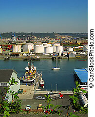 Industrial District - A photograph of an urban manufacturing...