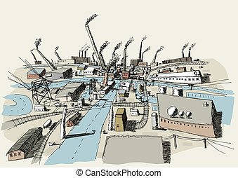 Industrial District - Illustration of an industrial district...