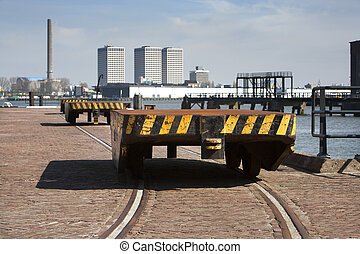 Industrial district - Train wagons in an industrial district...