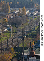 Industrial district with railroad - view from the height ...