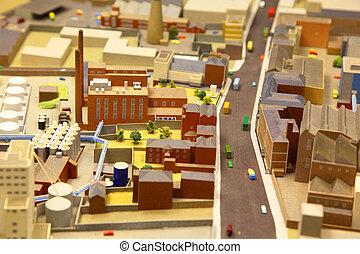 industrial, distrito, modelos, coches, arquitectónico, placa...