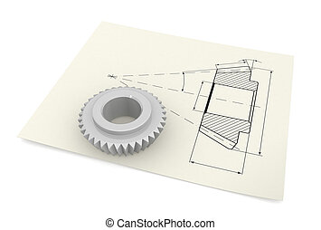 Industrial drawing - Three-dimensional image - bevel pinion...