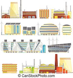 Industrial Eco Waste Solutions Flat Icons Collection