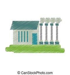industrial, ed, símbolo, fábrica, buiding, contaminación