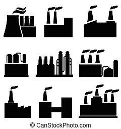 industrial, edifícios, fábrica, e, poluição