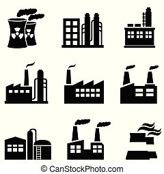 industrial, edifícios, plantas poder, e, fábrica