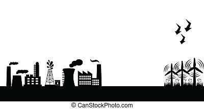 industrial, edificios, con, enrolle turbinas