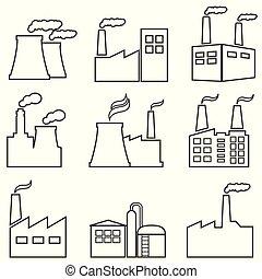 industrial, edificios, línea, iconos