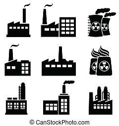 industrial, edificios, y, fábricas