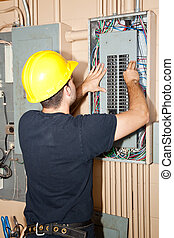 industrial, eléctrico, panel, reparación