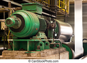 Industrial electric engine - Old electric engine powering a...