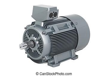 Industrial electric motor, 3D rendering