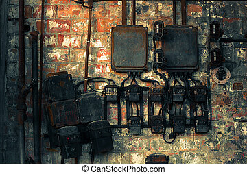 industrial electrical switch on the wall - industrial ...