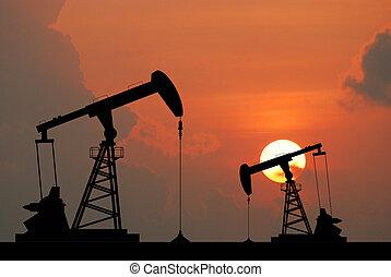 industrial, energía, petróleo, máquina, bomba, aceite,...