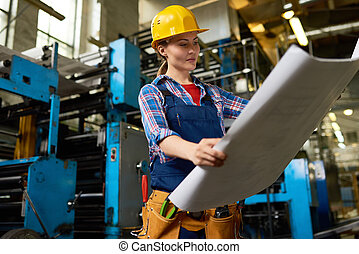 Industrial Engineer with Blueprint