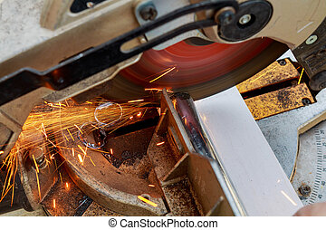 industrial engineer working on cutting a metal and steel ...