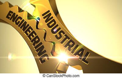 Industrial Engineering Concept. Golden Gears.