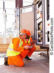 industrial engineers working in substation