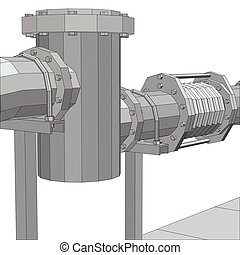 Industrial equipment filter. Wire-frame. EPS10 format. Vector rendering of 3d