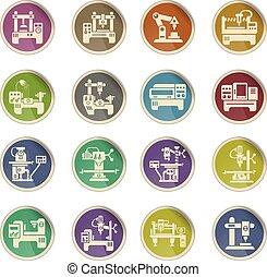 industrial equipment icon set