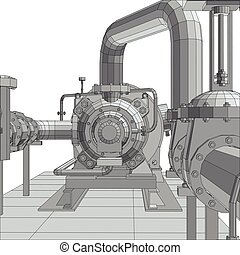 Industrial equipment pump. Wire-frame. EPS10 format. Vector rendering of 3d