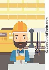 industrial, equipment., trabajando, hombre