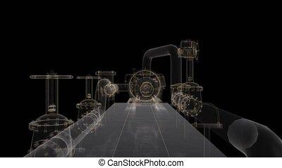 Industrial equipment valve. Digital technology visualization...