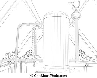 Industrial equipment. Wire-frame render