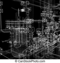 Industrial equipment. Wire-frame render isolated on a black...
