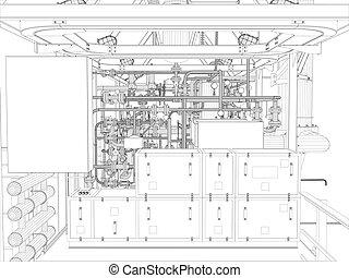 industrial, equipment., wire-frame, render